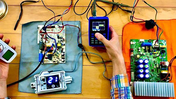 Medición de cable de señal con osciloscopio en equipo Inverter